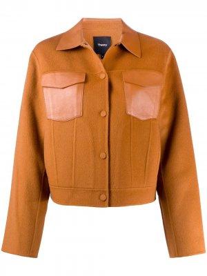Приталенная куртка на молнии Theory. Цвет: коричневый