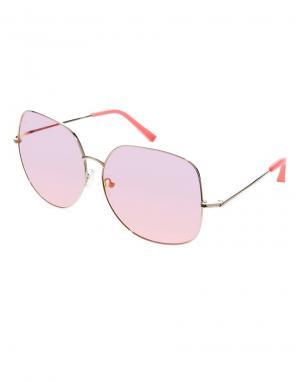 Солнцезащитные очки в крупной круглой оправе For Matthew Linda Farrow. Цвет: розовый