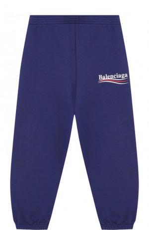 Хлопковые джоггеры с логотипом бренда Balenciaga. Цвет: синий