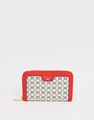 Кремово-красный кошелек на молнии с монограммой -Кремовый Dune