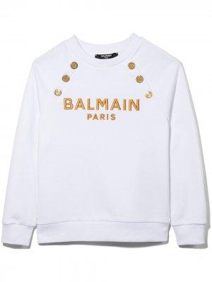 Толстовка с вышитым логотипом Balmain Kids. Цвет: белый
