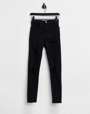Черные зауженные джинсы Jamie со рваными элементами-Черный цвет Topshop