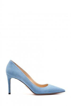 Голубые замшевые лодочки Prada. Цвет: синий