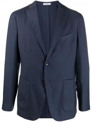 Однобортный пиджак строгого кроя Boglioli. Цвет: синий