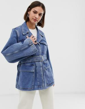 Джинсовая куртка с поясом и объемными рукавами Femme-Синий Selected
