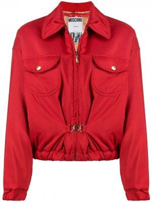 Присборенная куртка 1990-х годов с пряжкой Moschino Pre-Owned. Цвет: красный