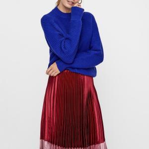Пуловер с воротником-стойкой из тонкого трикотажа YAS. Цвет: синий королевский