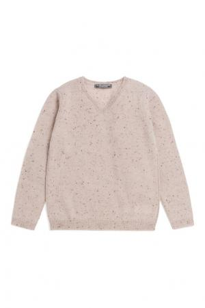 Бежевый кашемировый пуловер Bonpoint. Цвет: бежевый
