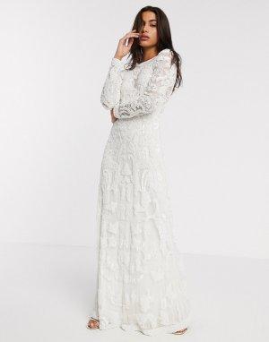 Свадебное платье с бисером -Белый ASOS EDITION
