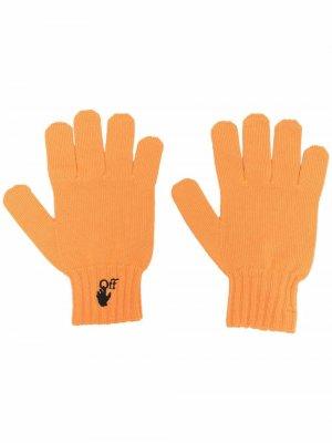 Перчатки с вышитым логотипом Off-White. Цвет: оранжевый