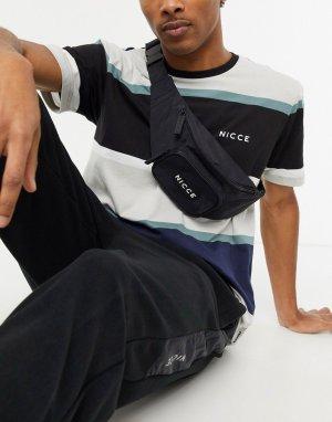 Черная сумка-кошелек на пояс с маленьким логотипом -Черный Nicce