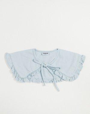Голубой выбеленный джинсовый воротник с завязкой и оборками Noisy May