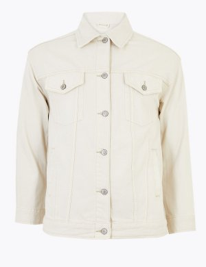 Джинсовая куртка на пуговицах из чистого хлопка Per Una. Цвет: сливки