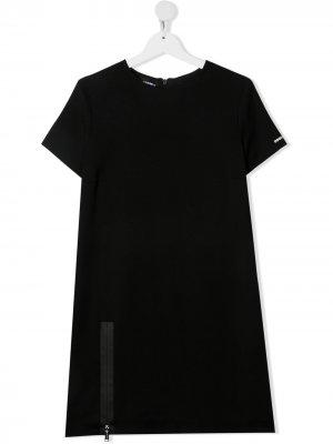 Платье-футболка с молнией Dsquared2 Kids. Цвет: черный