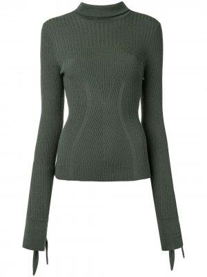 Джемпер в рубчик с завязками на рукавах Carolina Herrera. Цвет: зеленый
