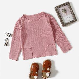 Для девочек Свитер с краманом SHEIN. Цвет: пыльный розовый