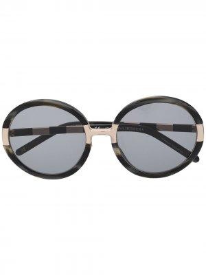 Солнцезащитные очки в круглой оправе Carolina Herrera. Цвет: серый