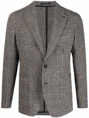 Пиджак в елочку Tagliatore. Цвет: черный