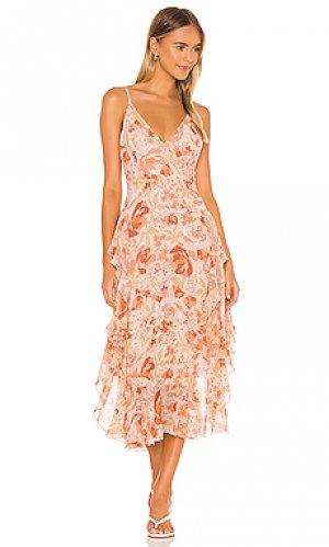 Платье с асимметричным подолом rochelle Bardot. Цвет: peach