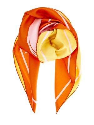Легкий платок из струящегося шелкового твила BURBERRY. Цвет: оранжевый