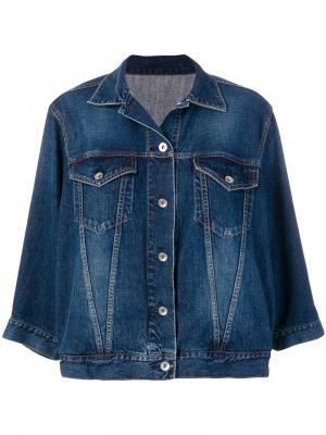 Джинсовая куртка с волнистыми рукавами Sacai. Цвет: синий