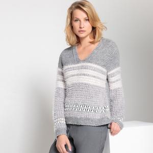 Пуловер с V-образным вырезом из жаккарда ANNE WEYBURN. Цвет: жакард