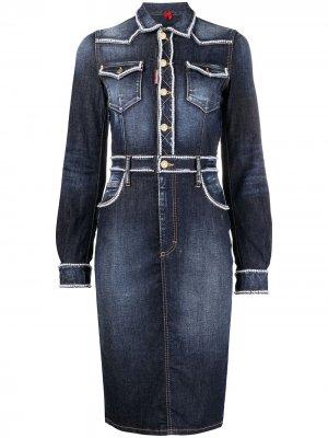 Джинсовое платье с декором из бисера Dsquared2. Цвет: синий