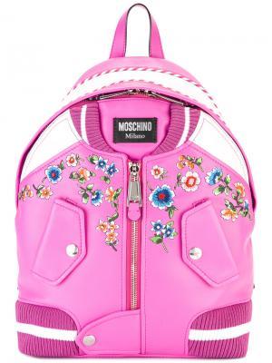 Портфель в стиле куртки бомбер Moschino. Цвет: розовый и фиолетовый