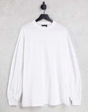 Белый лонгслив в стиле extreme oversized с объемными рукавами на манжетах ASOS DESIGN