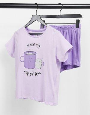 Сиреневая пижама с шортами и футболкой принтом чайной кружки -Фиолетовый цвет Brave Soul