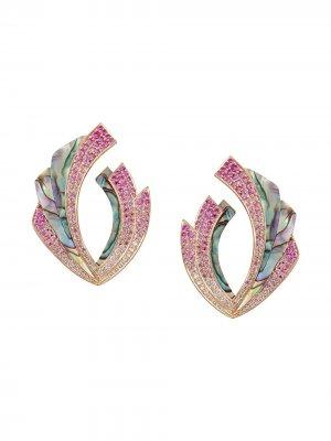 Серьги Mogra Blossom из розового золота с бриллиантами Ananya. Цвет: розовый
