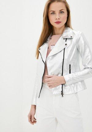 Куртка кожаная Ne.Ra Collezioni. Цвет: серебряный