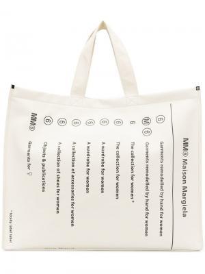Большая сумка-шоппер с логотипом Mm6 Maison Margiela. Цвет: белый