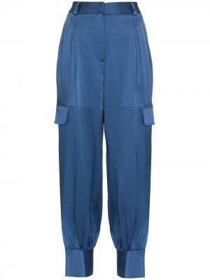 Спортивные брюки с карманами карго и разрезами Peter Pilotto. Цвет: синий