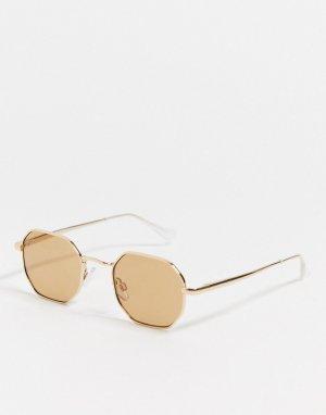 Золотистые солнцезащитные очки в шестиугольной оправе -Золотой River Island
