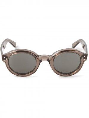 Солнцезащитные очки в круглой оправе Lesca. Цвет: серый