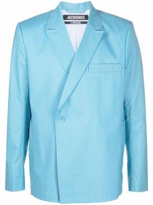 Двубортный шерстяной пиджак Jacquemus. Цвет: синий