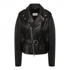 Кожаная куртка Maison Margiela. Цвет: чёрный