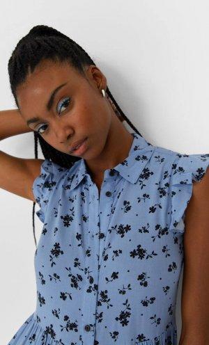 Короткое Платье-Рубашка Женская Коллекция Multicolor L Stradivarius. Цвет: multicolor