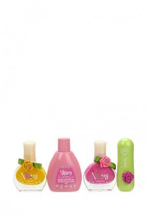 Набор косметики Nomi Лак для ногтей №7 и №17, Жидкость снятия лака, Бальзам губ, Блокнот.. Цвет: разноцветный
