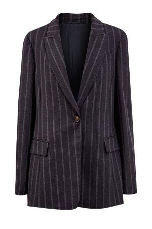 Пиджак из шерстяной ткани с вышивкой Мониль под лацканами BRUNELLO CUCINELLI. Цвет: черный