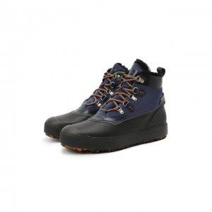 Комбинированные ботинки Santoni. Цвет: синий