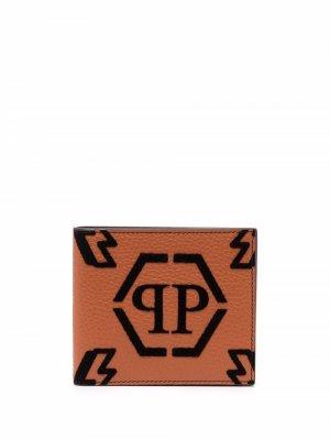 Бумажник с монограммой Philipp Plein. Цвет: коричневый