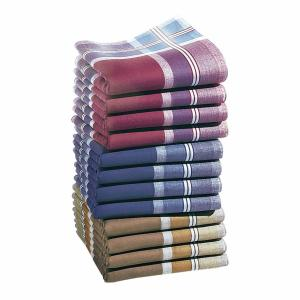 12 носовых платков Jumel из 100% хлопка LA REDOUTE INTERIEURS. Цвет: бежевый/ синий/ красный