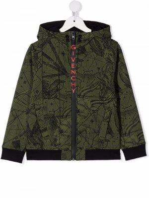 Куртка с капюшоном и принтом Givenchy Kids. Цвет: зеленый