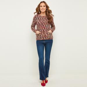 Пуловер с круглым вырезом из трикотажа JOE BROWNS. Цвет: красно-фиолетовый меланж