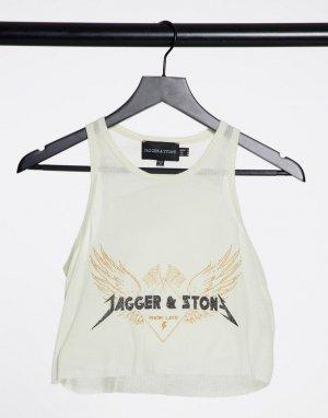 Свободная майка с принтом Jagger & Stone-Белый and Stone