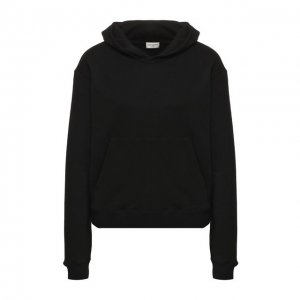 Хлопковый пуловер с капюшоном Saint Laurent. Цвет: чёрный