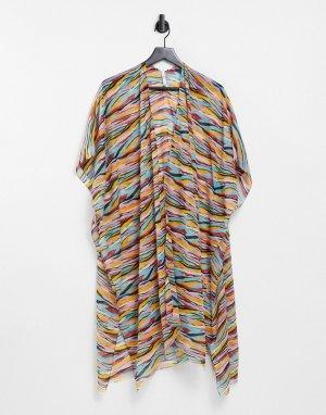 Пляжная туника с абстрактным принтом -Многоцветный Vero Moda