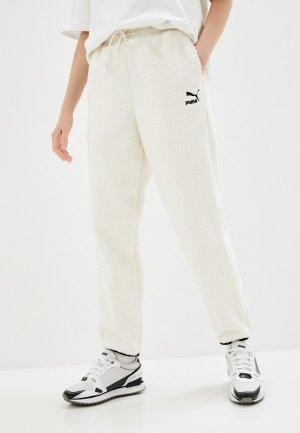 Брюки спортивные PUMA CLSX Sherpa Pants. Цвет: бежевый